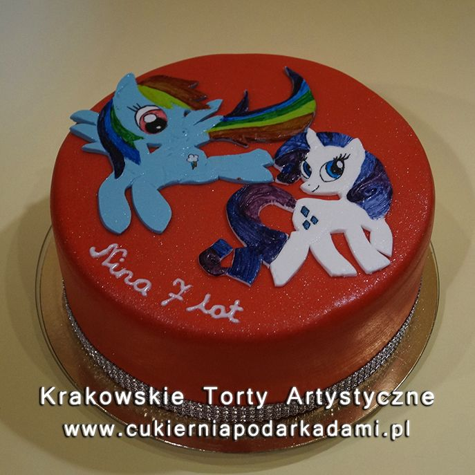 118. Czerwony tort z kucykami Pony. Red cake with My Little Pony.