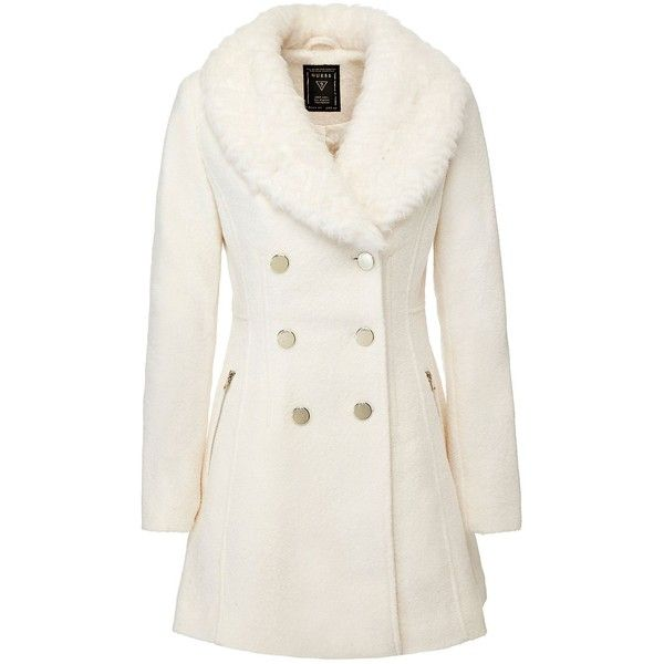 COAT WITH FAUX FUR COLLAR ❤ liked on Polyvore featuring outerwear, coats, faux fur collar coat and white coat