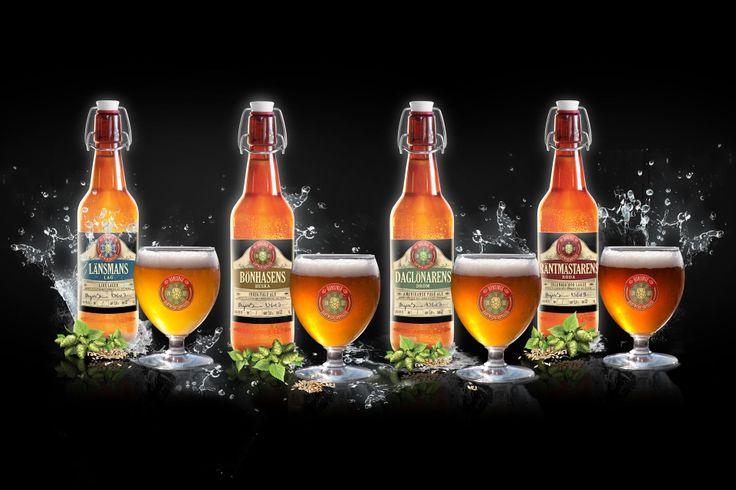 Länsmans Lag - Ljus Lager Böhasens Beska - India Pale Ale (IPA) Daglönarens Dröm - American Pale Ale (APA) Räntmästarens Röda - Lager
