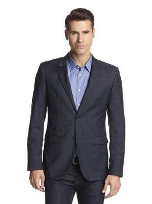 74% OFF Calvin Klein Collection Men's Bowery Two Button Sportcoat (Blue Cobalt Garnet)