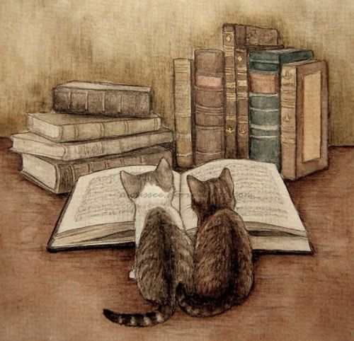 Books and Cats, 2 of my great loves. Add Ron Weasely and some coffee, and this would be perfect.