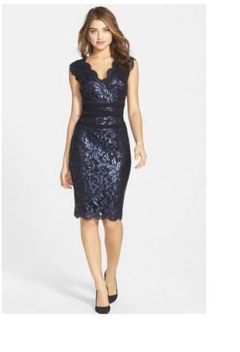 TADASHI-SHOJI-Embellished-Metallic-Lace-Sheath-Dress-NAVY-SIZE2-25-NWT