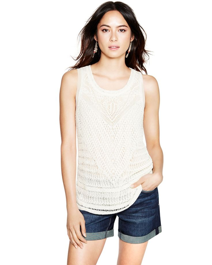 Crochet Tank with Woven Inset
