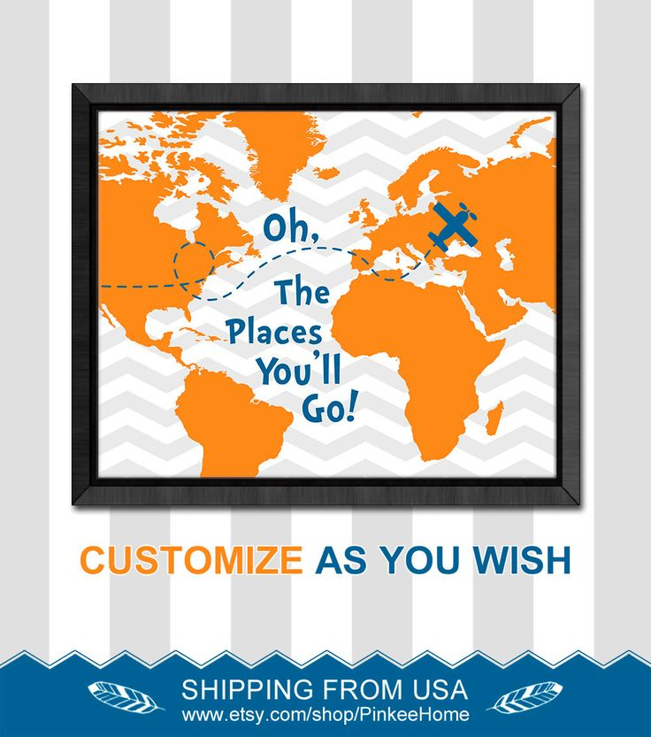 Orange blue oh the places youll go dr seuss quotes kids world map chevron baby nursery decor inspirational baby boy nursery baby gift idea by PinkeeHome on Etsy https://www.etsy.com/listing/209977039/orange-blue-oh-the-places-youll-go-dr