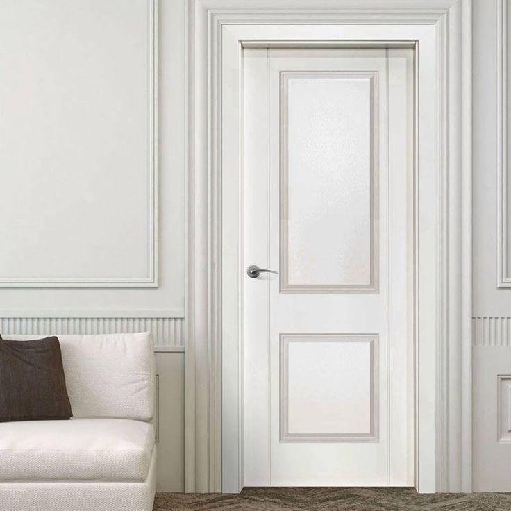 Valletta 2 Panel White Composite Fire Doorset with 135mm Broad Frame. #internalelegantfirerateddoor #internalfiredoor #whitefiredoor