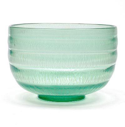 Sea-green glass Serica bowl No.34 with crackle design A.D.Copier 1931 executed by Glasfabriek Leerdam / the Netherlands