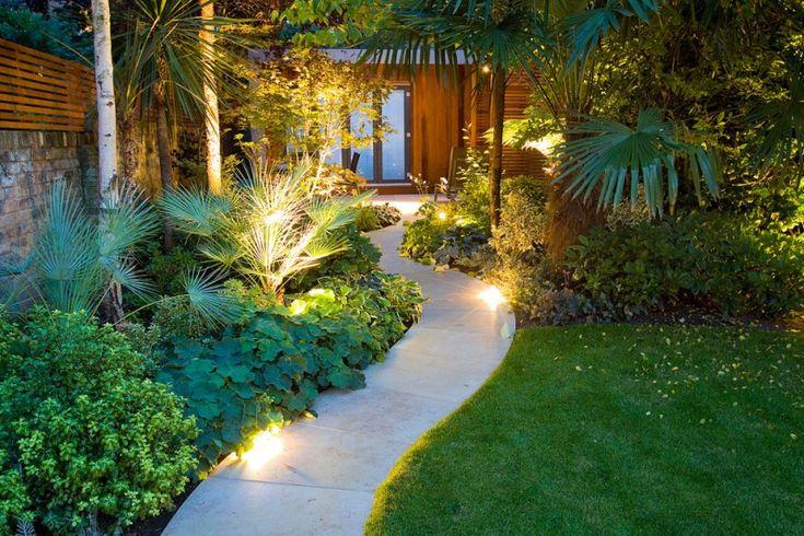 contemporary outdoor lighting grass plants door lamps wood chair glass wooden wall pathway lights