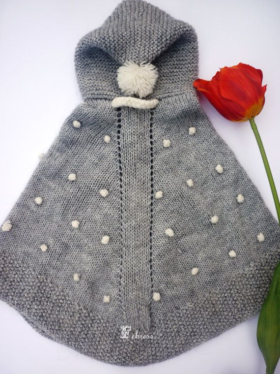 Hand knit baby poncho with hood in grey by febressfashion on Etsy, €32.90