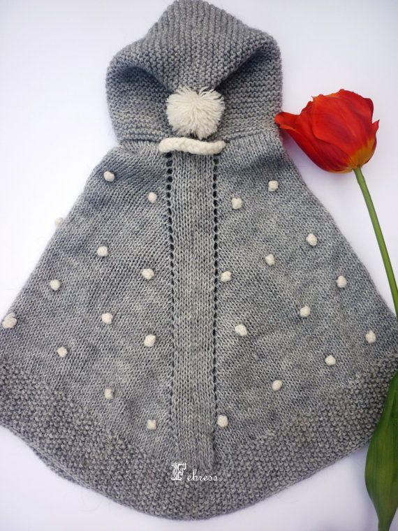 ALPACA WOOL Baby snowflakes poncho with hood by febressfashion,