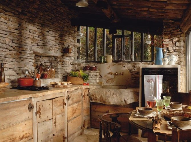 Brick Wall Rustic Kitchens Stone Walls Country Kitchens Country