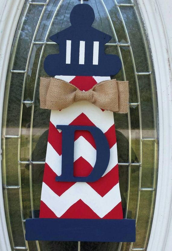 Check out this item in my Etsy shop https://www.etsy.com/listing/253652137/personalized-lighthouse-door-hanger