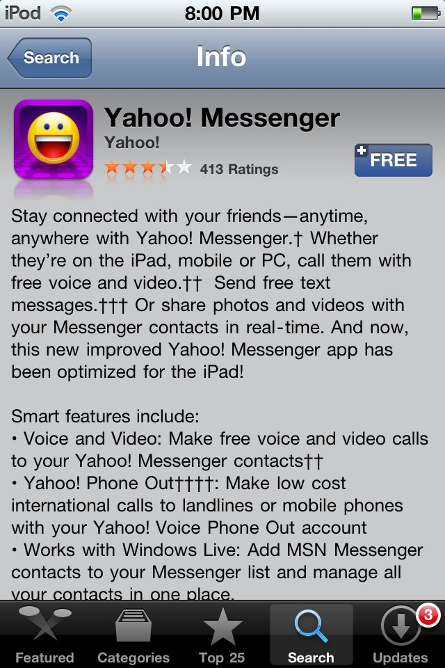 How to Download the Yahoo Messenger for iPhone App: Locate Yahoo Messenger for iPhone in the App Store
