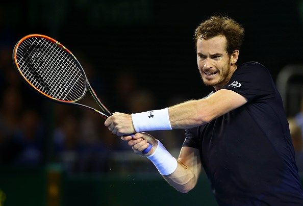 Andy Murray of Great Britain plays a backhnad during Day Three of the Davis Semi-Final match between Great Britain and Australia at Emirates Arena on September 20, 2015 in Glasgow, Scotland.