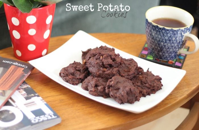 HONEYGOLIGHTLY: Sweet Potato Cookies  http://www.honeygolightly.com/2014/10/sweet-potato-cookies-gluten-free-vegan.html  #cookies #recipe #glutenfree #sweetpotato #vegan #chocolate