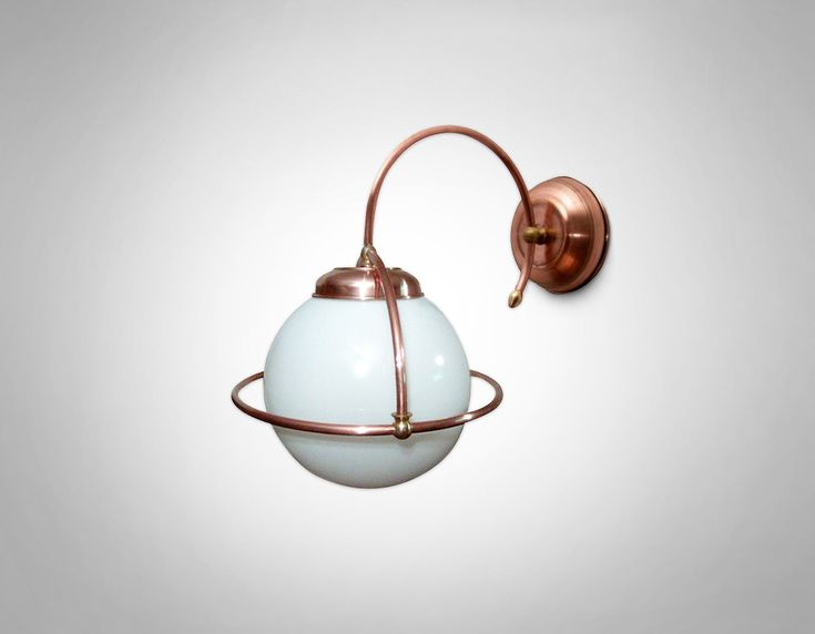 Brushed copper sconce, ball lamp