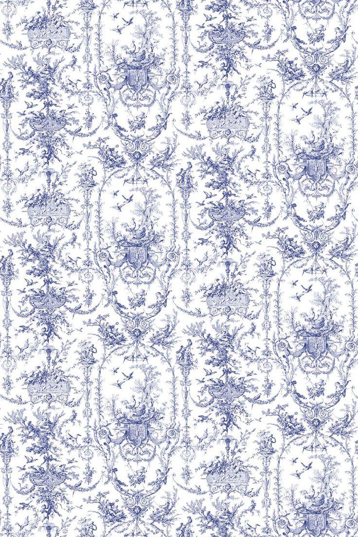 Tapete rockwood toile dunkelblau auf weiss thibaut for Tapete dunkelblau