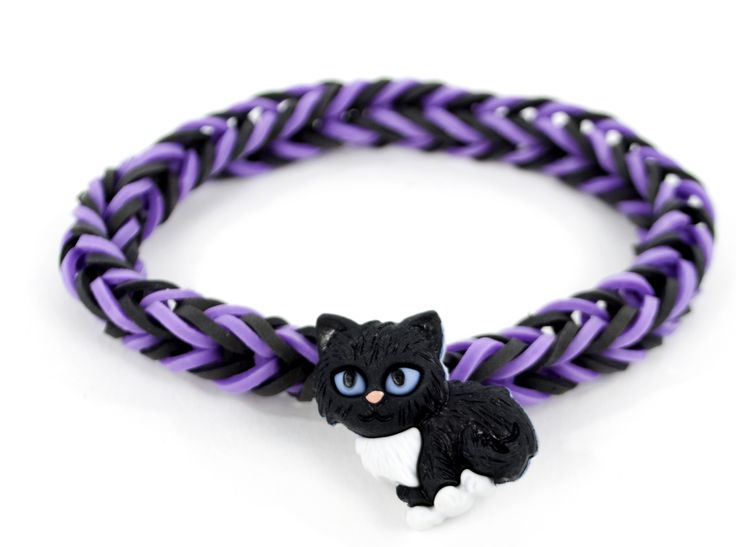 Black Cat Button Stretch Band Bracelet #kids #crafts #stretchband #