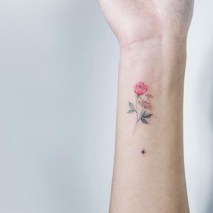 Two flowers + ✨ . From Japan . 점을 보라색 별로! . #soltattoo#솔타투