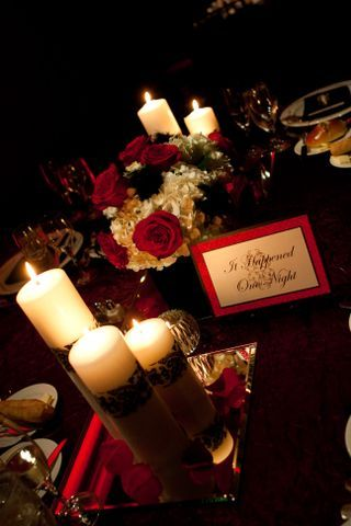 Table Decor   Cream and Red Roses and Candles