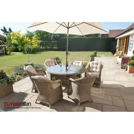 Maze Rattan Winchester 6 Seat Round Dining Set with Rounded Armchairs