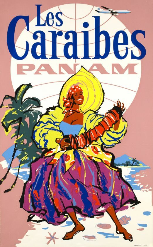 PAN AM Airlines vintage travel poster Caribbean 1965