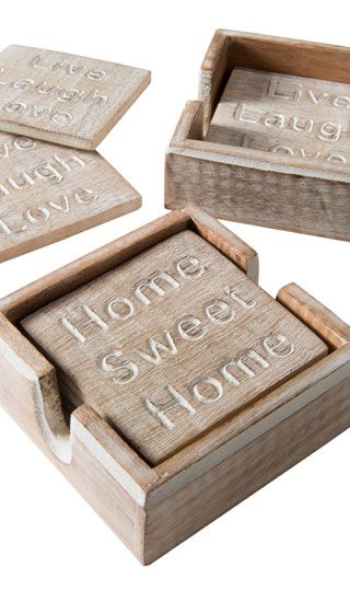 Wooden coasters with carved message