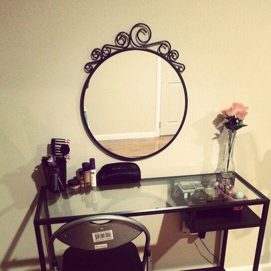 My Vanity Table  Ikea mirror: ekne $15 Ikea laptop table: vittsjo $40