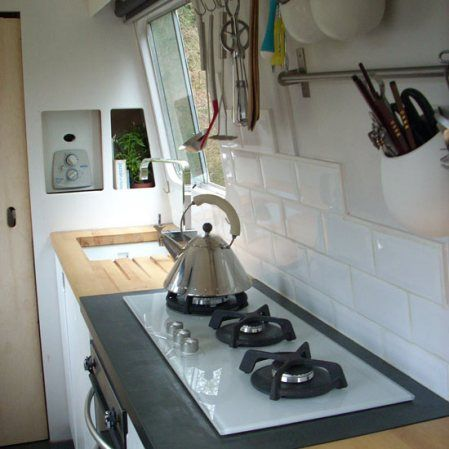 Simple, cute kitchen on a narrowboat