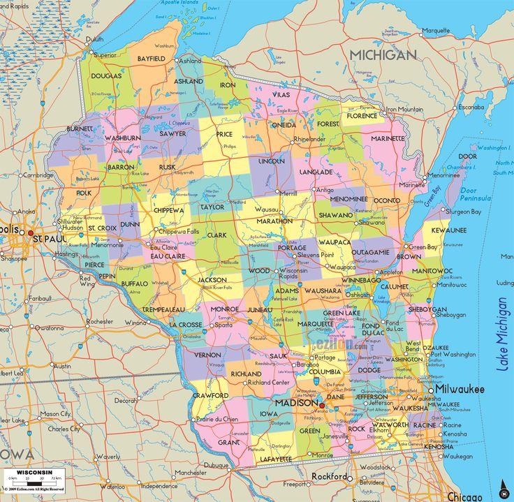 Wisconsin Map Usa Bnhspine Com