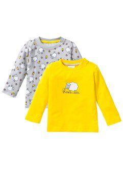 Для малышей: футболка из биохлопка с длинным рукавом (2 шт.), bpc bonprix collection, лимонно-желтый/серебристый матовый