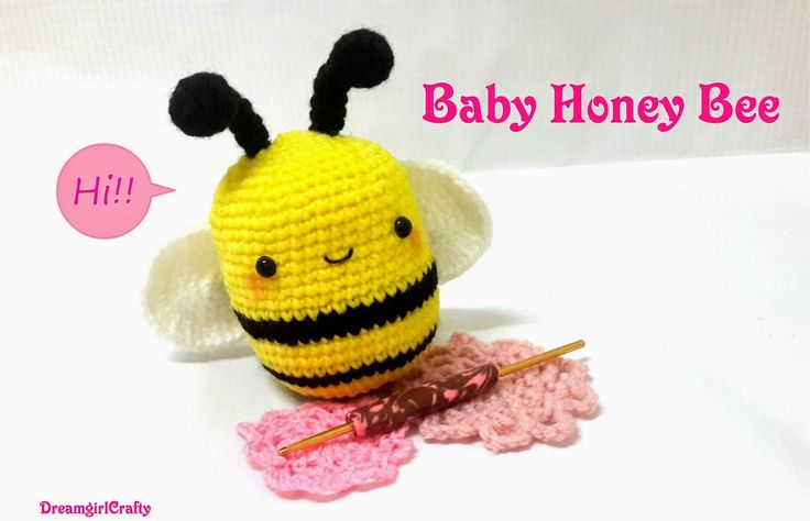 Baby Honey Bee - Free Amigurumi Pattern here: http://dreamgirlcraftcreations.blogspot.co.nz/2014_10_01_archive.html