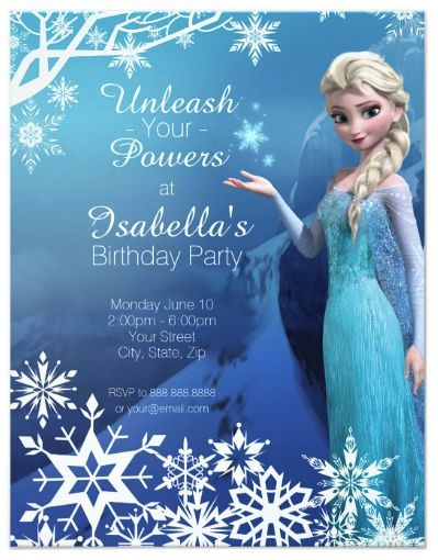 Frozen Elsa Birthday Party Invitation. Customize this Disney Frozen Birthday Party Invitation, perfect for any occasion!