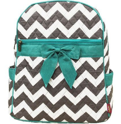 Personalized Aqua and Grey Chevron Backpack Bookbag  Dance Bag Swim Bag Aqua Zig Zag Christmas Birthday