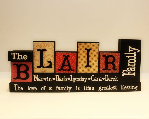Best 25 name blocks ideas on pinterest wood blocks family name blocks wooden blocks parents anniversary gift living room decor mothers day gift family blocks 5 letters name sign negle Image collections