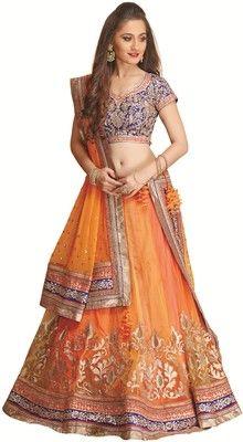 Meena Bazaar Self Design Women's Lehenga Choli - Buy Orange Meena Bazaar Self Design Women's Lehenga Choli Online at Best Prices in India | Flipkart.com