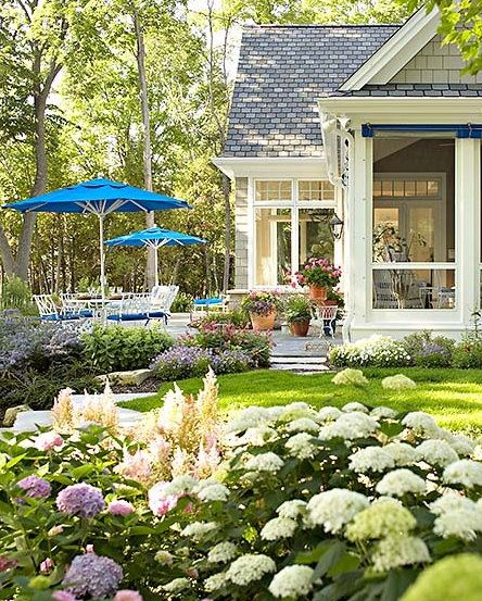 screened porch: Umbrellas, Screens Porches, Beautiful Backyard, Flowers Beds, Gardens Patio, House, Landscape, Outdoor Spaces, Hydrangeas