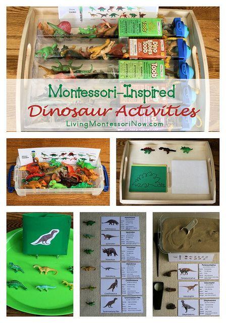 Montessori Monday – Montessori-Inspired Dinosaur Activities Using Dinosaur Replicas and Montessori Print Shop Materials