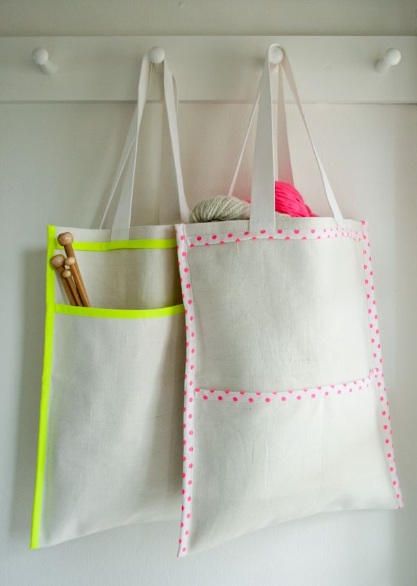 DIY: inside out neon bags