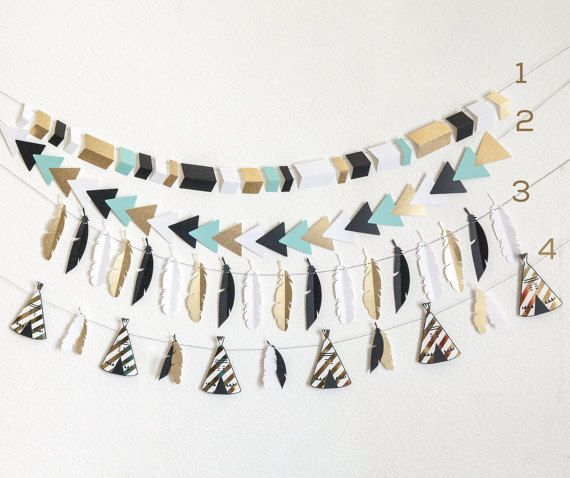 These banners are perfect for wall decor, nursery or party decor. Measure 5 feet each plus extra for hanging. Pattern on teepees may very slightly depending on availability. *colors are Black, white, gold and aqua. If you would like something else just message me. *Matching Wild One cake