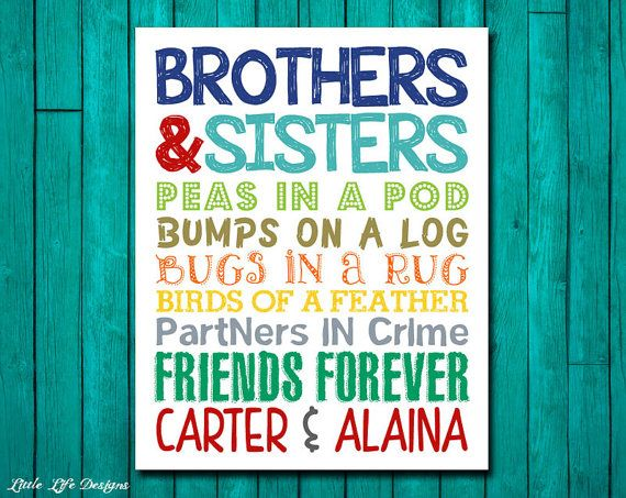 Brothers & Sisters. Sibling Wall Art. Kids Room Decor. Bro and Sis Sign. Nursery Decor. Twins. Brother and Sister Decor. Friends Forever.