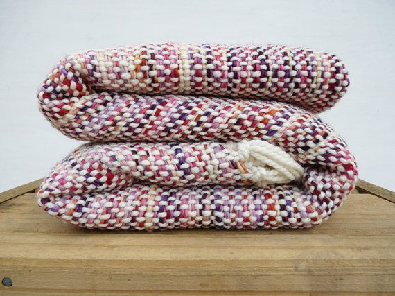 Multicolor wool blanket handwoven wrap throw by TexturableDecor