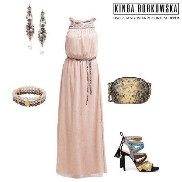 """Stylizacja z serii """" sukienki na wesele"""" dla sylwetki L ( wysoka, szczupła, czasem wręcz chuda)"""