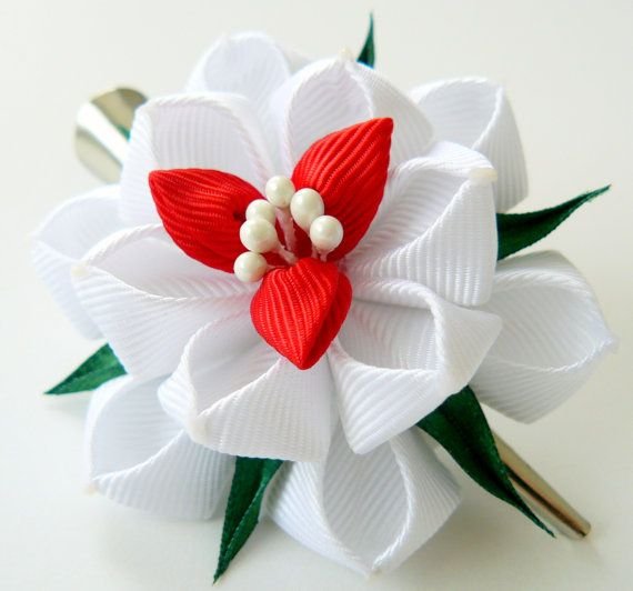 Kanzashi fabric flower hair clip White fabric flower by JuLVa, $10.00