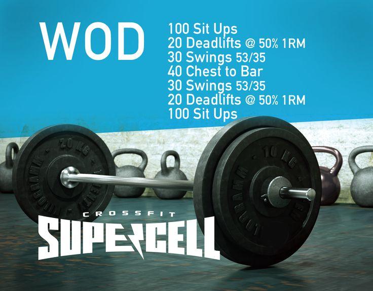 #CrossFit #Supercell #WOD Sit ups, deadlifts, kettlebell swings, pullups