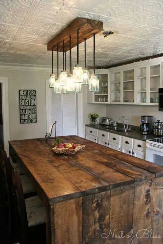 Rustic Kitchen Design with Wooden Kitchen Island
