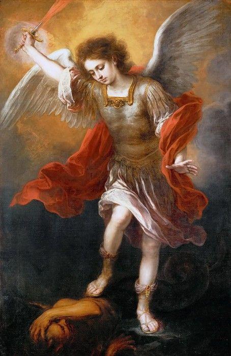 MURILLO EL ARCANGEL MIGUEL MANDANDO AL DEMONIO AL ABISMO 1665-69