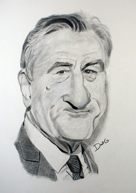 ROBER DE NIRO Caricature in charcoal