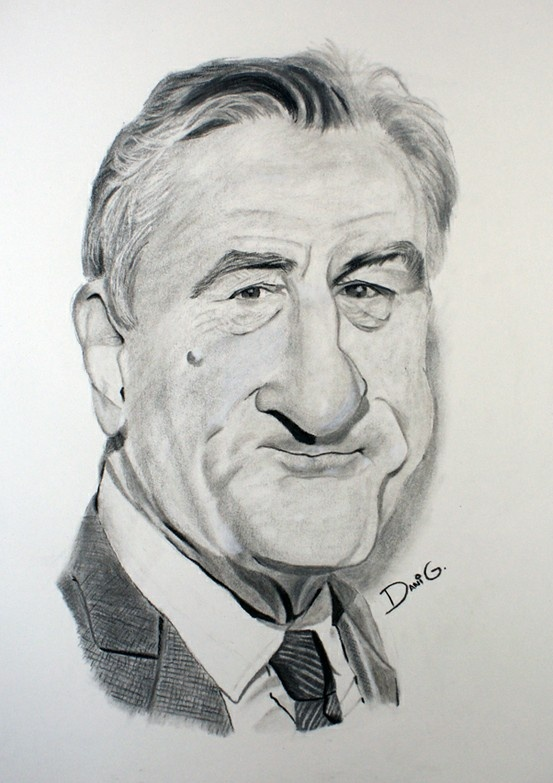 ROBER DE NIRO Caricature in charcoal | Caricatures ...