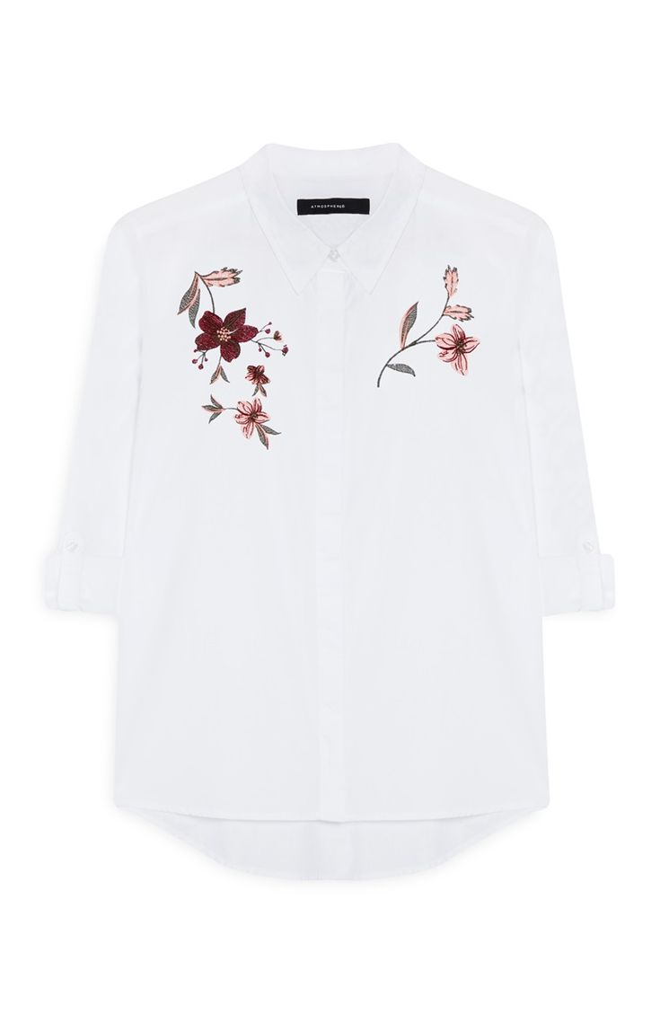 Design t shirt europe - Primark White Embroidered Shirt
