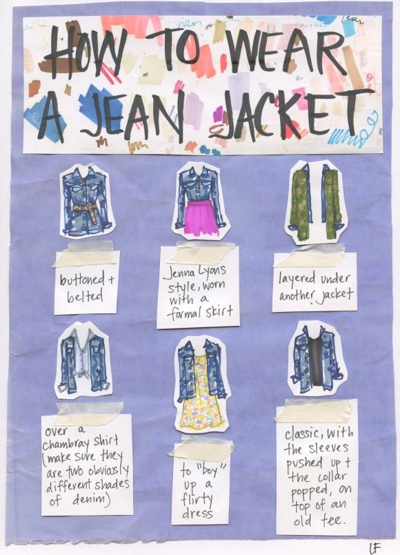 The many ways to style a denim jacket via My Closet In Sketches